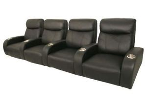 Rialto Home Theater Seating 4 Seats Black Leather Chair