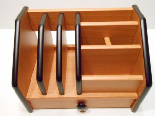 Wooden Desk Organizer with Pen Holder Letter Holders Drawer etc Cherry