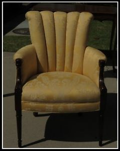 Antique Art Deco Club Chair w Yellow Damask Upholstery