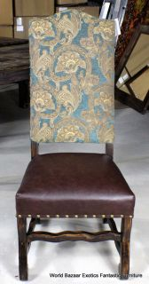 "49"" H Side Dining Chair Leather Wood Dark Brown Blue Gold Classic"