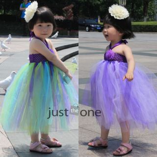 Baby Girls Kids Wedding Party Sweet Princess Tutu Halter Fluffy Long Dress 3 4Y