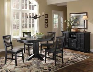 "42"" Round Arts Crafts 5 PC Dining Table Chairs Set in Black Expandable To"
