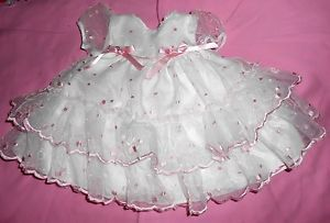 White Pink Pageant Dress for Baby Girl Wedding or Christening Dress 0 3 Months