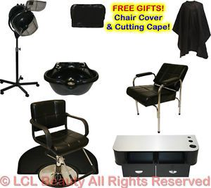 Hydraulic Barber Chair Styling Station Shampoo Bowl Hair Dryer Salon Equipment