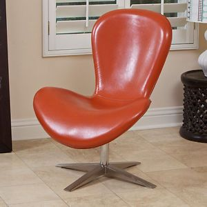 Curvetta Modern Design Orange Faux Leather Accent Chair