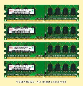 Desktop RAM 4GB 4X 1GB PC2 6400U Nonecc DDR2 800 240 Pin Memory Fits Dell HP IBM