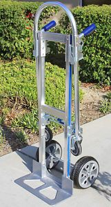 "3 in1 Convertible Aluminum Hand Truck Utility Cart Dolly w 10"" Flat Free Tire"