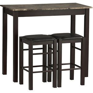 Tavern 3 Piece Set Chairs Table High Top Bar Stools Padded Brown Dining Espresso