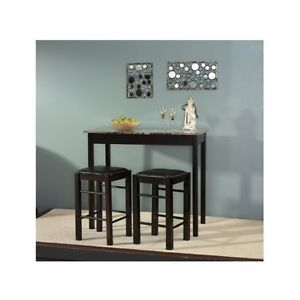 3 Piece Espresso Tavern Dining Room Set Kitchen Table Counter 2 Chairs Stools