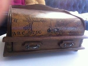 Men's Vtg Wood Jewelry Box Chest Tray Desk Dresser Valet Organizer Ring Holder