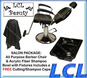 Reclining Hydraulic Barber Chair Acrylic Fiber Shampoo Bowl Spa Salon Equipment