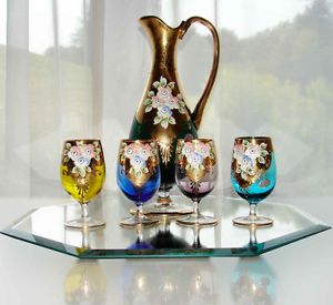 Murano Art Glass Gold Decanter Pitcher Cordial Glasses Green Cobalt Blue Venetia