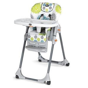 Chicco Polly Zest Vinyl Pattern Space Saving Fold High Chair Infants Toddlers