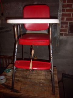 Vintage Retro Country Kitchen Collectible Old Childs Red Chrome Metal High Chair
