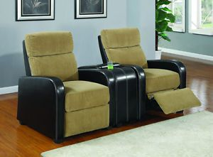 Movie Home Theater Seating Reclining Tan Corduroy 6 Chairs
