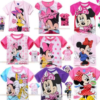 2 8years Cute Baby Toddler Kids Girls Minnie Cartoon Short Sleeve T Shirt MST15