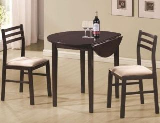 3 Piece Dining Set Drop Leaf Pub Table Chairs Compact Small Studio Dinette Nook