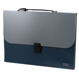 Steel Blue Gray 13 Slots Rectangle Paper Document File Holder Organizer Bag