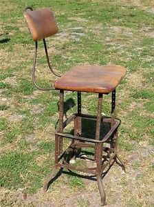 Unique Vintage Factory Industrial Machine Age Adjustable Bench Stool