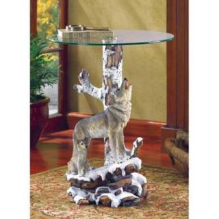 Howling Wolf Accent Table with Tempered Glass Snow Covered Mountains