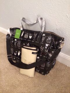 Kate Spade Daycation Adaira Tiki Cocktails Baby Diaper Black Bag Tote New