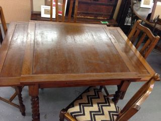 English Antique Oak Pull Leaf Dining Table 4 Chairs with Barley Twist Legs