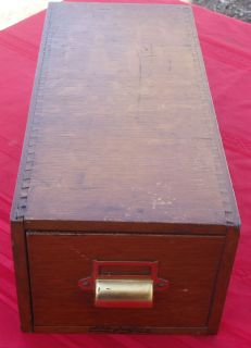 Nice Vtg Oak Library Index Card File Cabinet by Yawman Frbe Dovetailed Early
