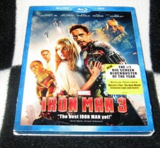 DVD Iron Man 3 Blu Ray DVD w Jacket Superhero Sneek Peak Thor The Dark World 786936836943