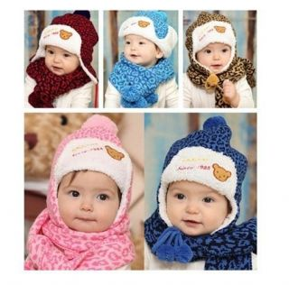 Fashion Cute Boy Girl Baby Kids Toddler Winter Leopard Ear Cap Hats Scarf Sets
