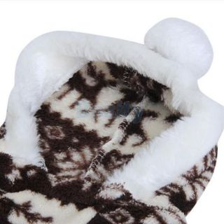 Pet Dog Puppy Hooded Fluffy Jumpsuit Coat Pajamas Clothes Reindeer Snowflake New