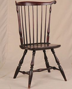 Original American New England Fan Back Painted Windsor Antique Side Chair