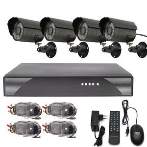 4CH CCTV DVR Motion Detection Security System 2 Indoor Camera 2 Outdoor Camera