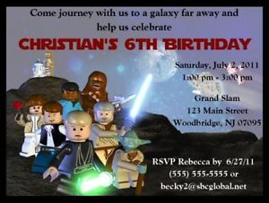 Lego Star Wars Invitations Birthday Party Supplies