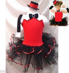 Girls Jazz Dance Costume Dresses Ballet Tutu Leotard w Cap Gloves Sz 1 6