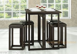 Modern Brown Wenge Wood 5 Piece Collapsible Pub Table Dining Set Table 4 Chairs