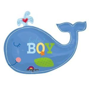 "34"" Ahoy Baby Boy Whale Balloon Shower Party Supplies Decorations Ocean Favors"