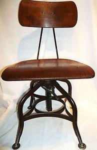 Antique Uhl Toledo Spider Leg Swivel Drafting Stool Great Patina Condition