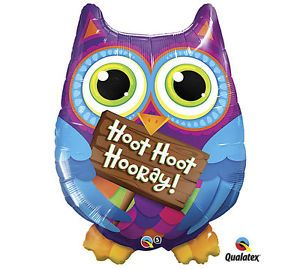 "Hoot Hoot Hooray Sign Celebrate Happy Birthday Owl 34"" Balloon Party Supply"