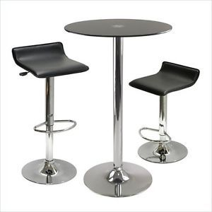 Winsome Rossi 3 Piece Round Glass Table 2 Air Lift Bar Stool Chairs Pub Set