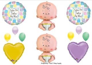 Twins Baby Shower Balloons Decorations Supplies Twice as Nice Double Boy Girl