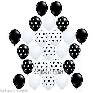 "25 Polka Dot Black White Mix 11"" Latex Party Balloons Birthday Baby Shower New"