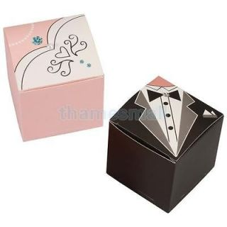 1 Pair Tuxedo Dress Gown Wedding Party Gift Favor Packing Boxes Candy Supply New