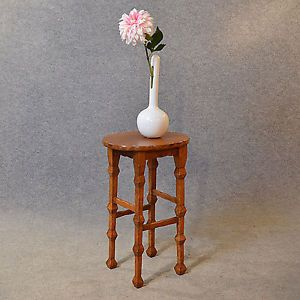 Antique Oak Arts Crafts Stool Tall Seat Plant Stand Quality C1900