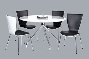 5 Pcs Modern Round White Lacquer w Chrome Dining Table and Chairs Set ZBM5810