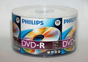 50 16x Philips Logo Blank DVD R DVDR Recordable Disc 4 7GB