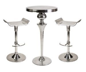 Modern Aluminum Pub Bar Table 2 Chair Set Pool Room Contemporary New