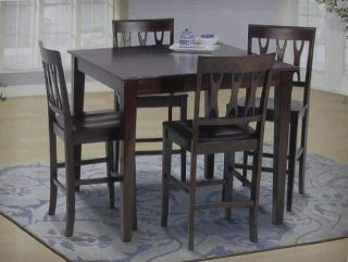 5 PC New Classics Abbie Pub Table Chairs Dining Set Bordeaux Free SHIP