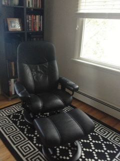 Ekornes Stressless Black Leather and Wood Recliner Chair and Ottoman
