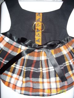 Dog Cat Ferret Harness Dress Couture Halloween Holiday Orange Black Plaid