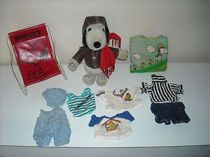 Vintage Flying Ace Snoopy Doll 1968 with Chair 6 Outfits and Woodstock Tote